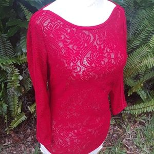 Cache new Xsmall red 3/4 length sleeve top